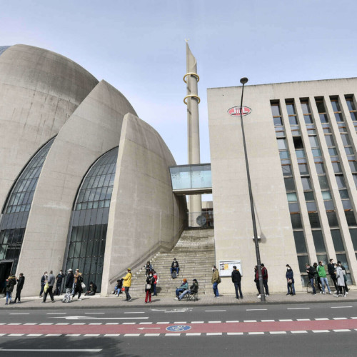 Germany, Cologne, mosque, muezzin call